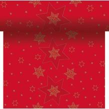 Duni Dunicel-Tischläufer 3 in 1, alle 40 cm perforiert, Motiv Starshine Red, 40 cm x 4,8 m