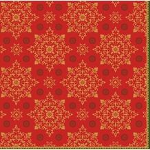 Duni Klassikservietten Xmas Deco Red 40 x 40 cm 4-lagig, geprägt 1/ 4 Falz 50 Stück