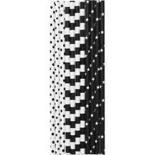 Duni Strohhalme Black & White 19,6 cm 25 Stück