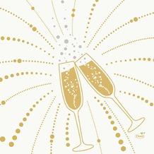 Duni Zelltuchservietten Festive Cheers White 33 x 33 cm 3-lagig 1/ 4 Falz 50 Stück