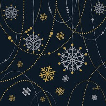 Duni Zelltuchservietten Snowflake Necklace black 34 x 33 cm 3-lagig 1/ 4 Falz 250 Stück