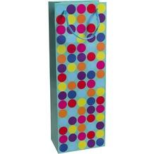 Duni Flaschentüten Trend Motiv Dots Blue, 12,3 x 36,2 x 7,8 cm