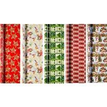 Duni Geschenkpapier auf Rolle, 5 Rollen, Christmas Time 2 m x 70 cm