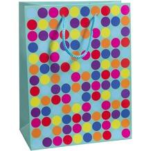 Duni Geschenktüten Trend Motiv Dots Blue, 17,8 x 22,9 x 9,8 cm