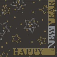 Duni Zelltuch-Servietten 33x33 cm 3lg 1/ 4 New Year Black, 50 Stück