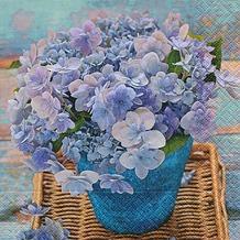 Paper+Design Servietten Tissue Blue hydrangea 33 x 33 cm 20er
